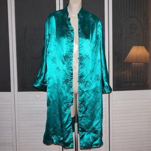 Vintage Oriental Mandarin Satin Jacket Coat Robe